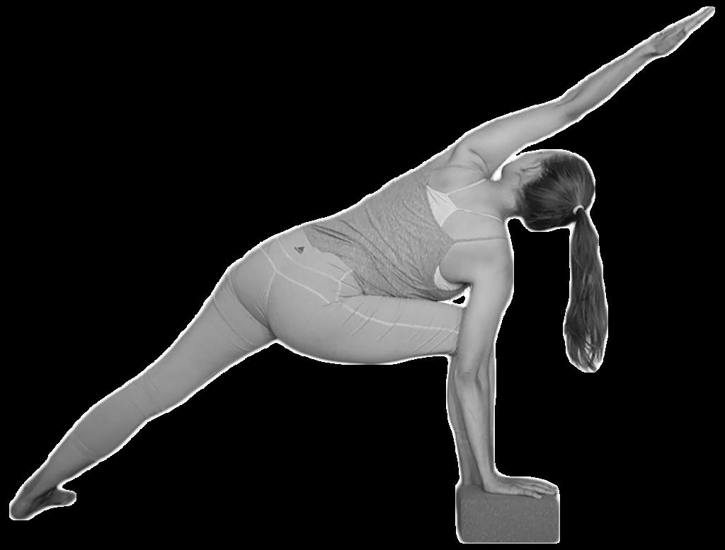 yoga props parsvakonasana met blok