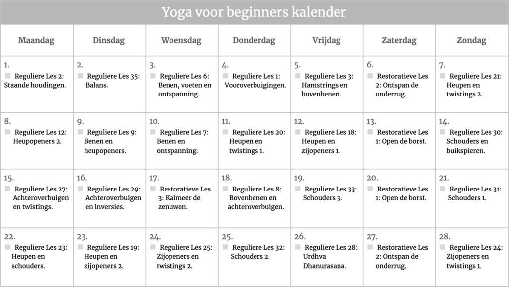 yoga maandprogramma voor beginners