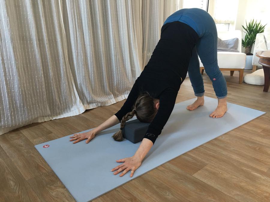 hondhouding met blok iyengar yoga